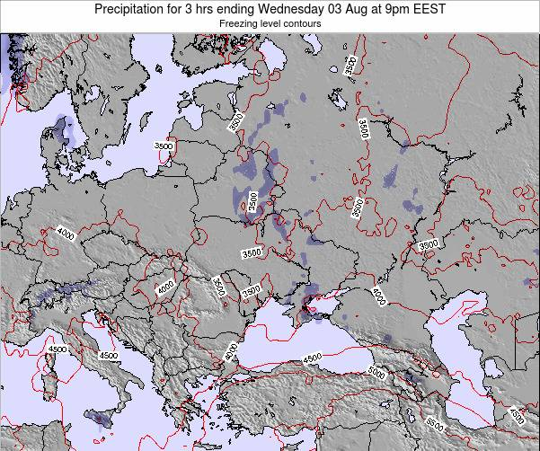 Moldova Precipitation for 3 hrs ending Wednesday 26 Jun at 3pm EEST map