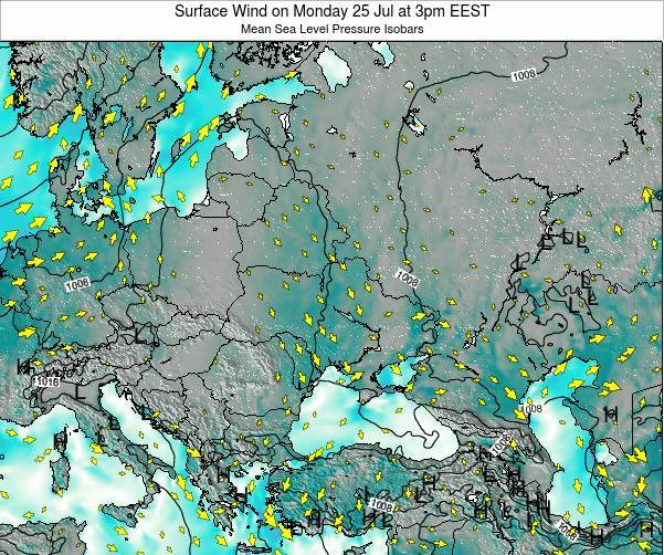 Ukraine Surface Wind on Monday 16 Jul at 9am EEST map