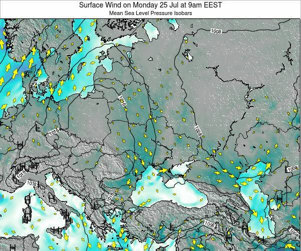 Ukraine Surface Wind on Wednesday 23 Jul at 9am EEST