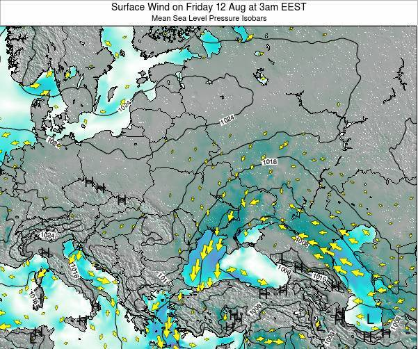 Ukraine Surface Wind on Friday 25 Apr at 3pm EEST