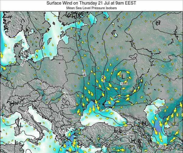 Ukraine Surface Wind on Monday 27 May at 3am EEST