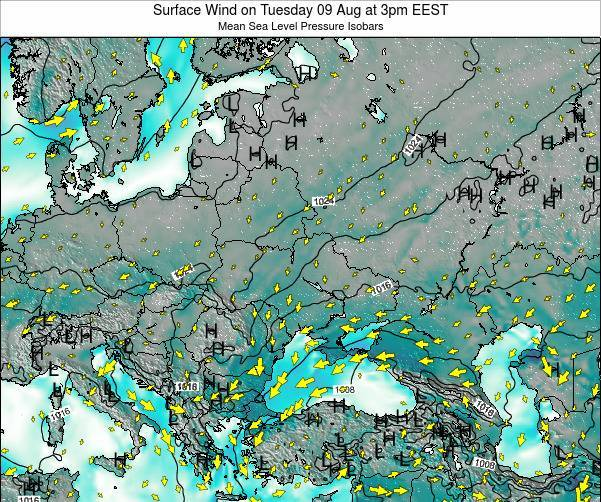 Ukraine Surface Wind on Saturday 02 Aug at 9pm EEST