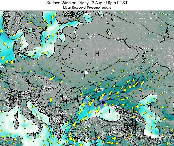Ukraine Surface Wind on Tuesday 05 Aug at 3am EEST