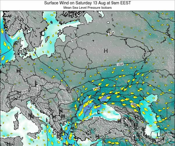 Ukraine Surface Wind on Friday 08 Aug at 3pm EEST