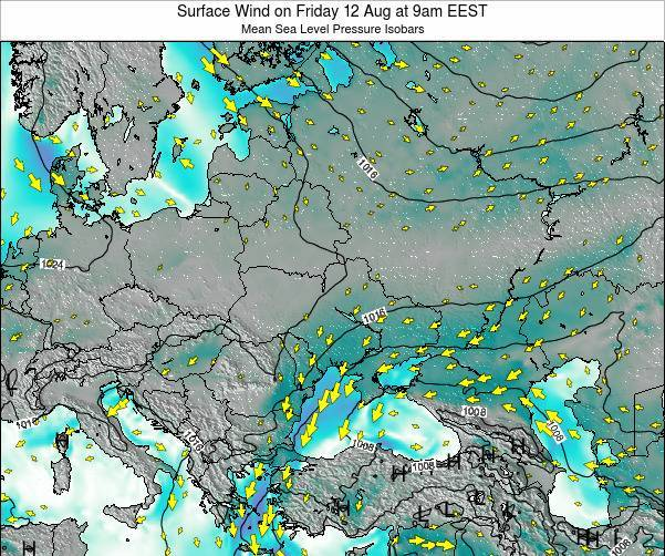 Ukraine Surface Wind on Friday 25 Apr at 9am EEST