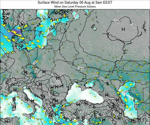 Ukraine Surface Wind on Monday 23 Apr at 3pm EEST map