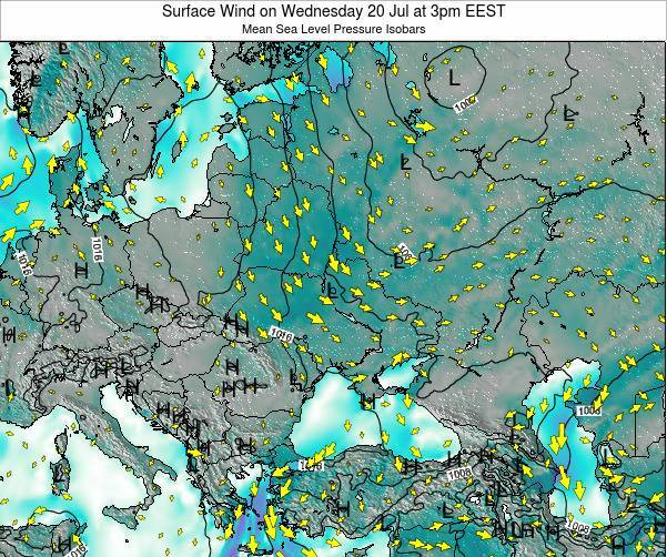 Moldova Surface Wind on Wednesday 22 May at 3am EEST map