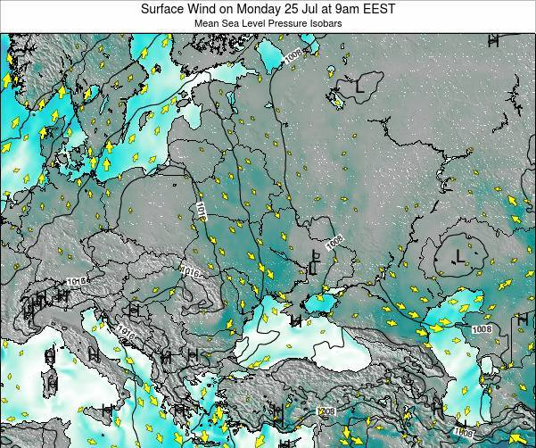 Ukraine Surface Wind on Sunday 22 Apr at 3am EEST map