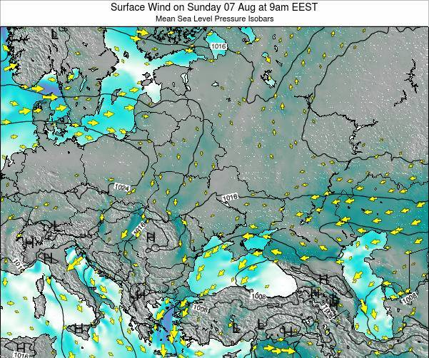 Ukraine Surface Wind on Saturday 26 Jul at 9pm EEST