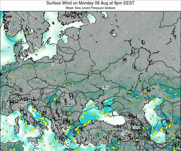 Ukraine Surface Wind on Sunday 03 Aug at 9am EEST