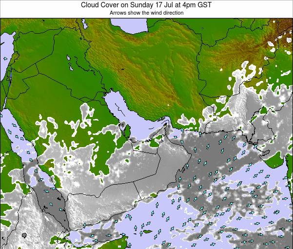 United Arab Emirates Cloud Cover on Tuesday 28 May at 4pm GST