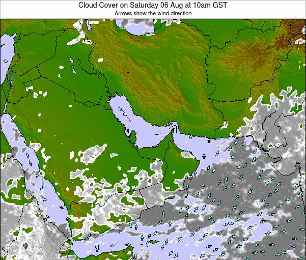 United Arab Emirates Cloud Cover on Monday 12 May at 10am GST