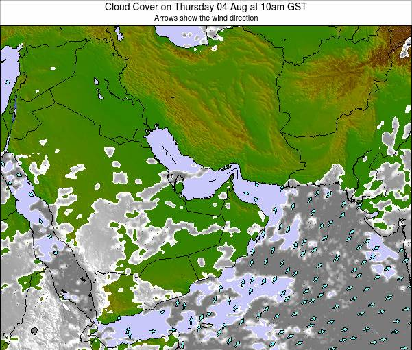 United Arab Emirates Cloud Cover on Wednesday 07 May at 10pm GST