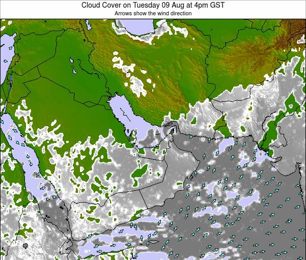 United Arab Emirates Cloud Cover on Wednesday 06 Aug at 10pm GST