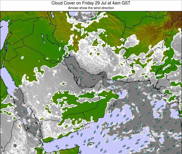 United Arab Emirates Cloud Cover on Thursday 25 Dec at 10pm GST