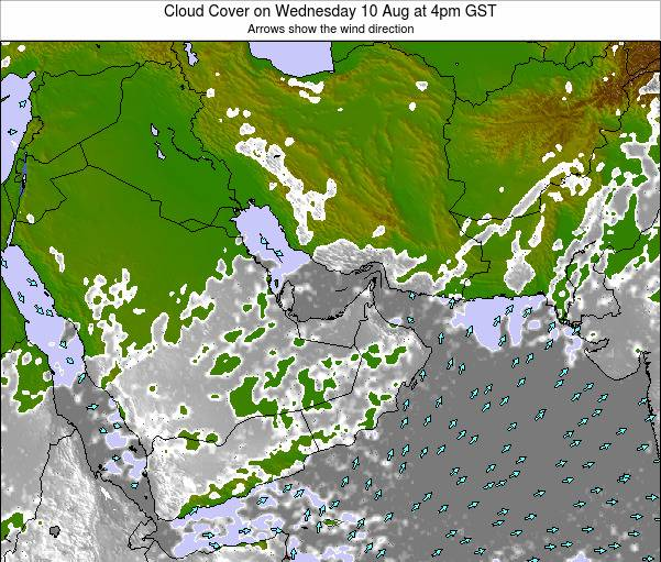 United Arab Emirates Cloud Cover on Monday 15 Feb at 4pm GST
