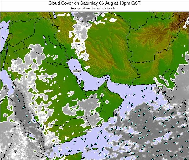 United Arab Emirates Cloud Cover on Tuesday 29 Apr at 10am GST