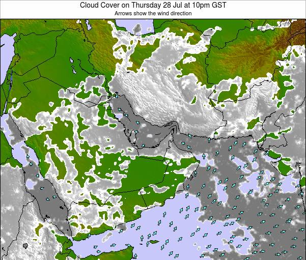 United Arab Emirates Cloud Cover on Monday 18 Dec at 10pm GST map