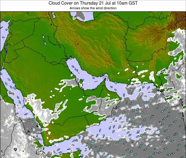 United Arab Emirates Cloud Cover on Tuesday 05 Aug at 10am GST