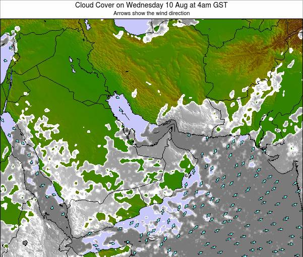 United Arab Emirates Cloud Cover on Saturday 25 May at 4pm GST