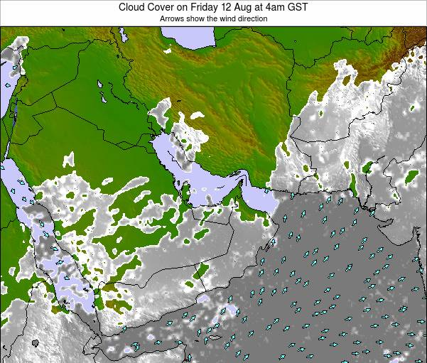 United Arab Emirates Cloud Cover on Wednesday 14 May at 10am GST