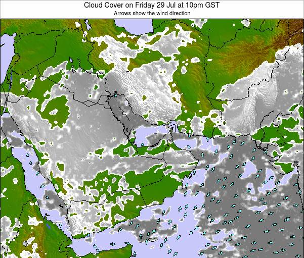 United Arab Emirates Cloud Cover on Wednesday 29 May at 10pm GST