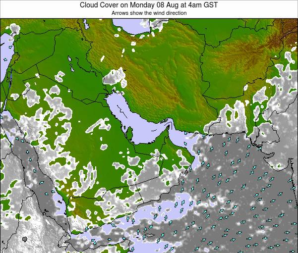 United Arab Emirates Cloud Cover on Tuesday 29 Jul at 4pm GST