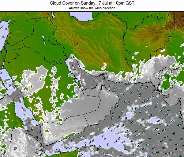 United Arab Emirates Cloud Cover on Friday 24 May at 4am GST