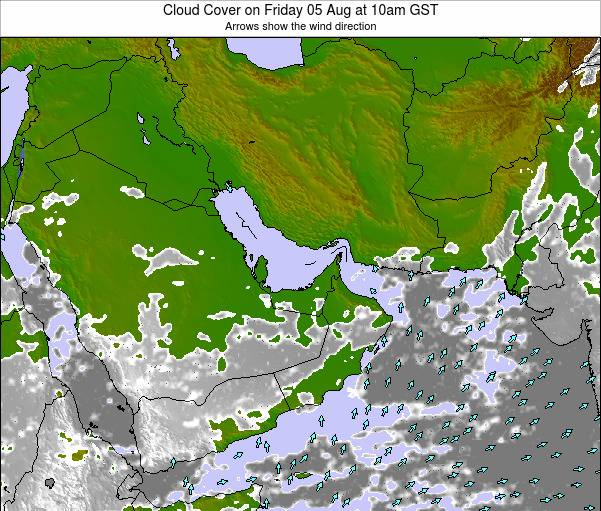 United Arab Emirates Cloud Cover on Thursday 08 May at 4pm GST