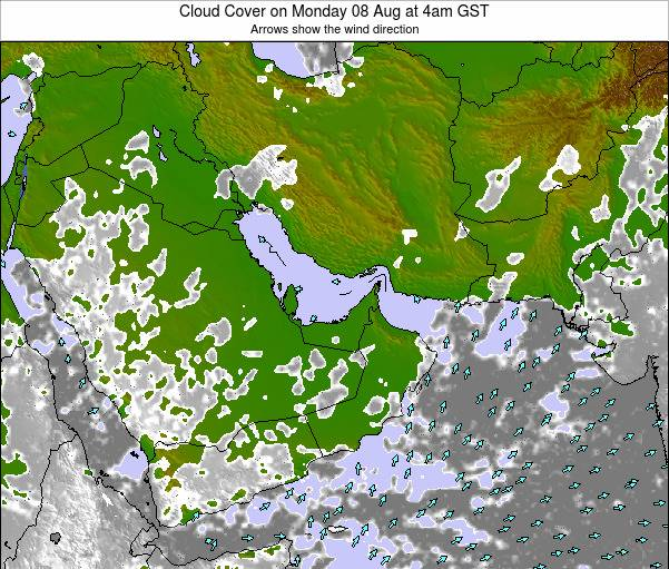 United Arab Emirates Cloud Cover on Friday 01 Aug at 4am GST