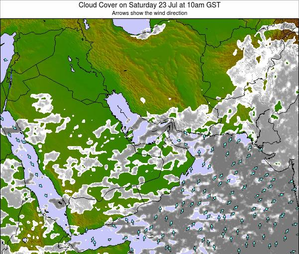 United Arab Emirates Cloud Cover on Wednesday 07 May at 4pm GST