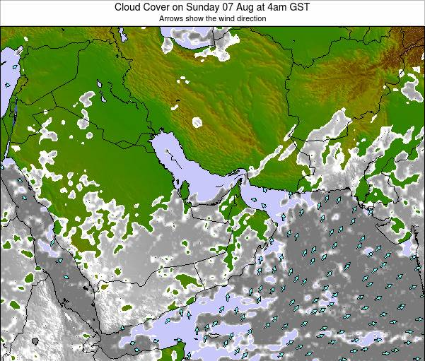 United Arab Emirates Cloud Cover on Wednesday 22 May at 10am GST