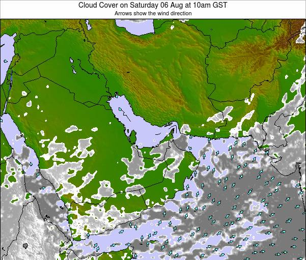 United Arab Emirates Cloud Cover on Sunday 22 Jan at 4am GST