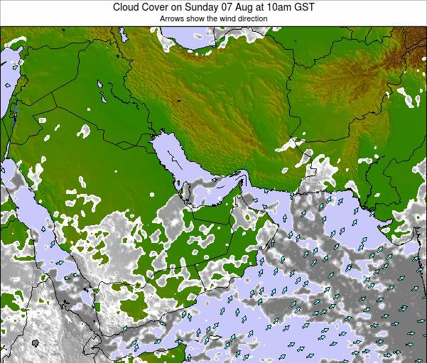 United Arab Emirates Cloud Cover on Saturday 26 Jul at 10pm GST