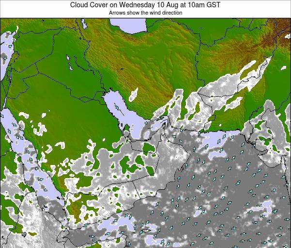 United Arab Emirates Cloud Cover on Tuesday 19 Dec at 10am GST map