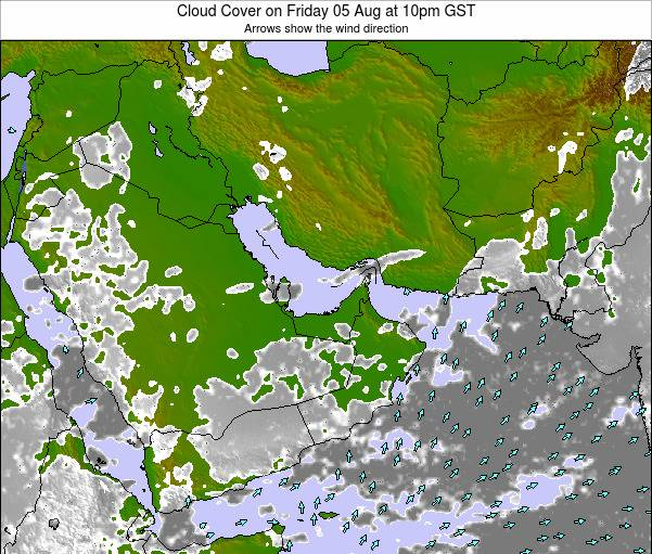 United Arab Emirates Cloud Cover on Saturday 14 Dec at 10am GST