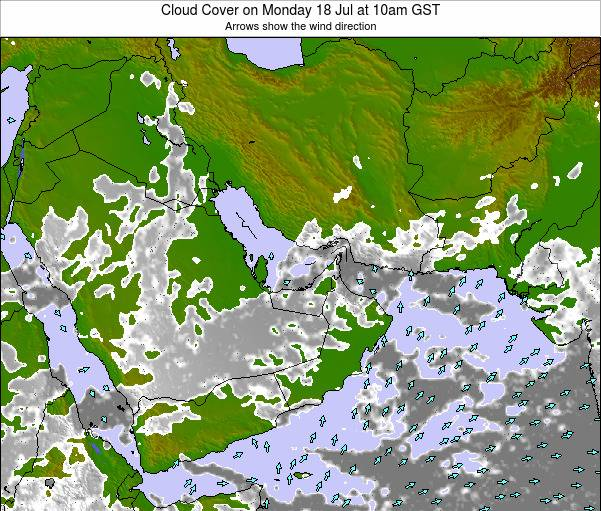 United Arab Emirates Cloud Cover on Saturday 22 Jun at 10pm GST