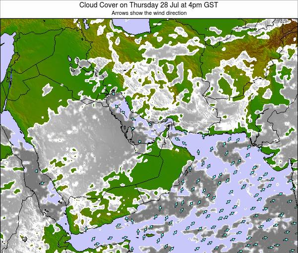 United Arab Emirates Cloud Cover on Sunday 05 Oct at 4pm GST