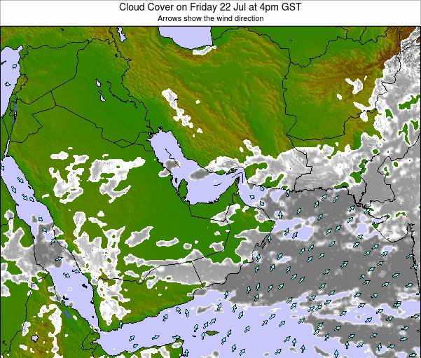 United Arab Emirates Cloud Cover on Sunday 11 May at 10pm GST