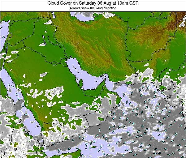 United Arab Emirates Cloud Cover on Wednesday 23 Aug at 10pm GST