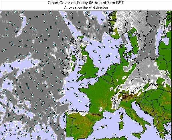 Guernsey Cloud Cover on Tuesday 25 Jun at 1am BST