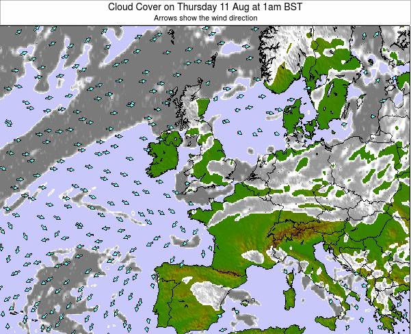 Guernsey Cloud Cover on Tuesday 28 May at 7am BST