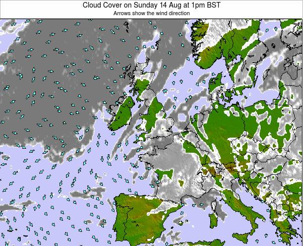 Faroe Islands Cloud Cover on Saturday 25 May at 1pm BST