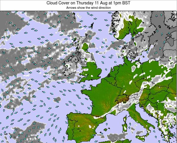 Guernsey Cloud Cover on Sunday 26 May at 7am BST
