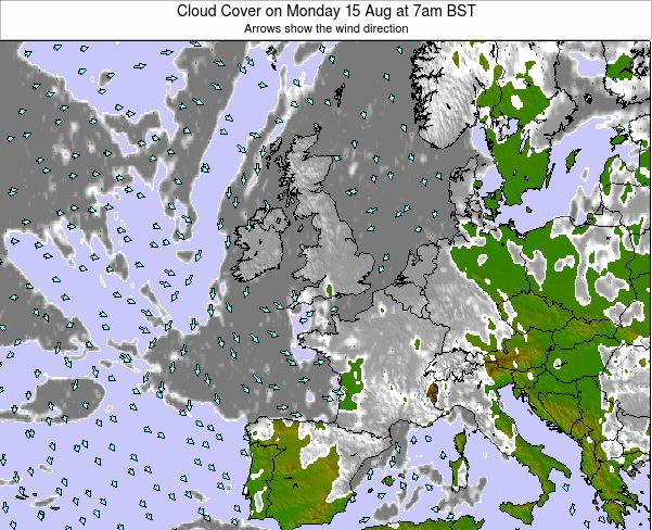 Guernsey Cloud Cover on Monday 07 Sep at 7pm BST