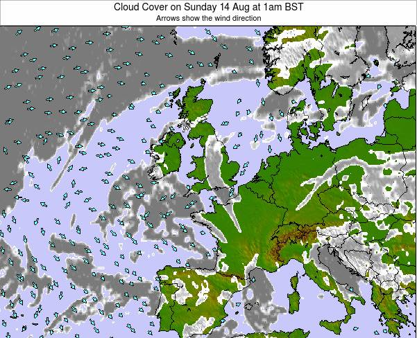 Guernsey Cloud Cover on Monday 29 Jan at 12pm GMT map
