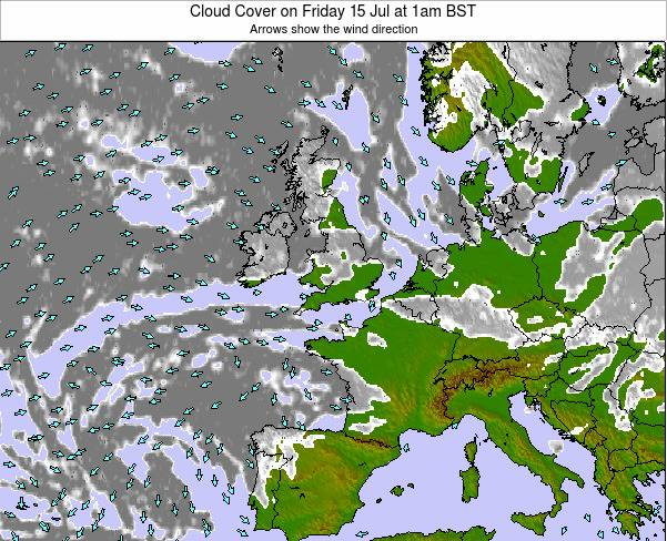 United Kingdom Cloud Cover on Tuesday 10 Dec at 12pm GMT