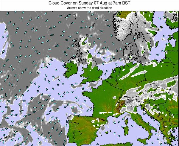 United Kingdom Cloud Cover on Tuesday 02 Sep at 1pm BST