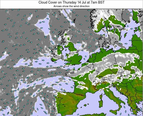 United Kingdom Cloud Cover on Friday 24 May at 1am BST