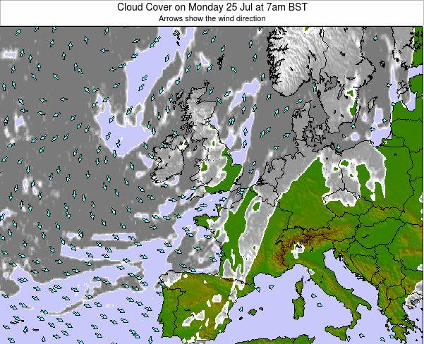 United Kingdom Cloud Cover on Thursday 24 Apr at 7pm BST
